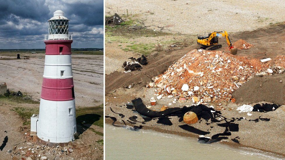 Orfordness Lighthouse and the demolished site