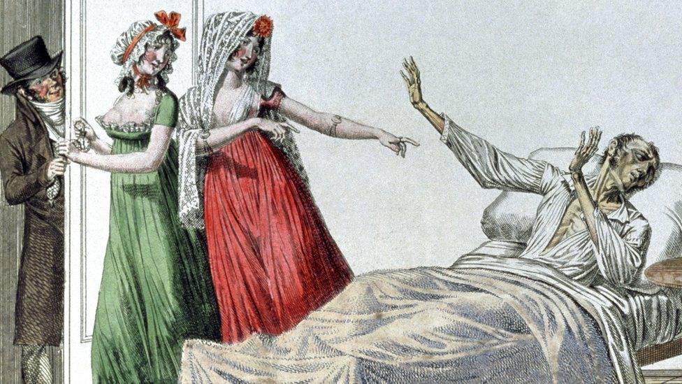 Image from c1800 of syphilitic man shooing away people