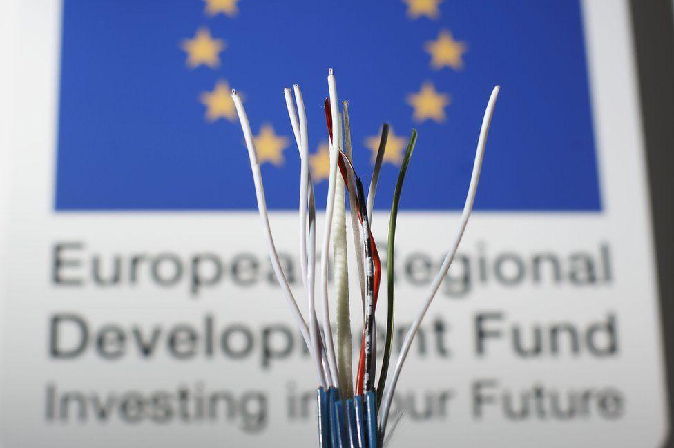 Fibre optic cable/EU sign at EU-funded Superfast Cornwall
