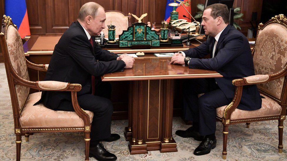 Russian President Vladimir Putin with Prime Minister Dmitry Medvedev