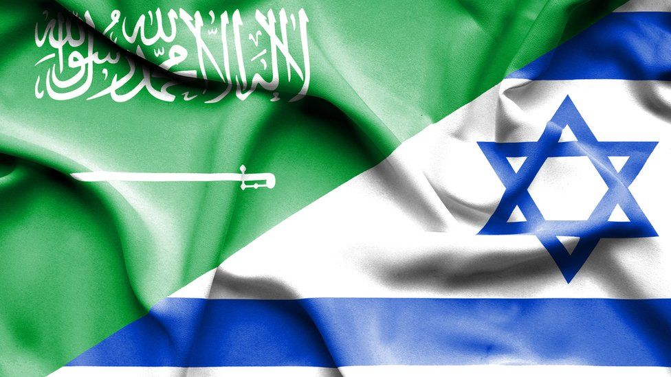 Saudi and Israeli flags