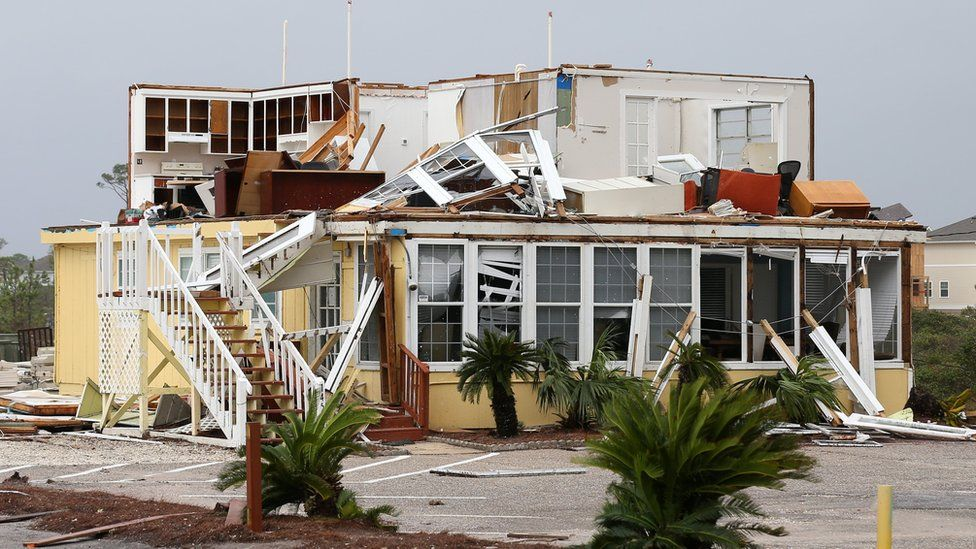 A damaged house caused by Hurricane Sally is pictured in Perdido Key, Florida, US, 16 September 2020