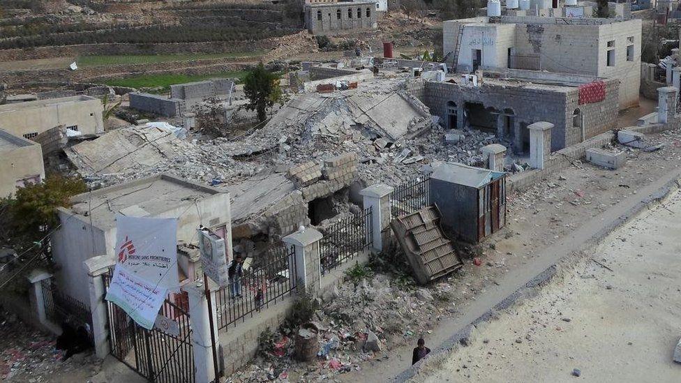 Part of the ruins of the MSF emergency room in Shiara, Yemen