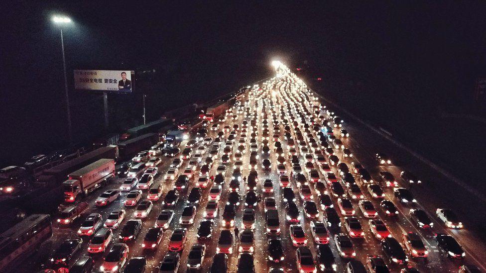 Traffic jam on night highway