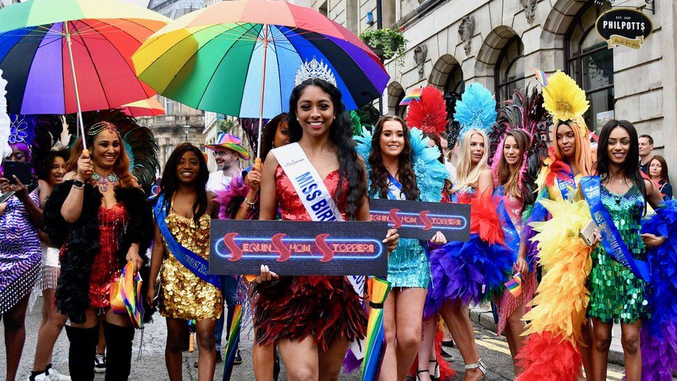 Colourful outfits at Birmingham Pride
