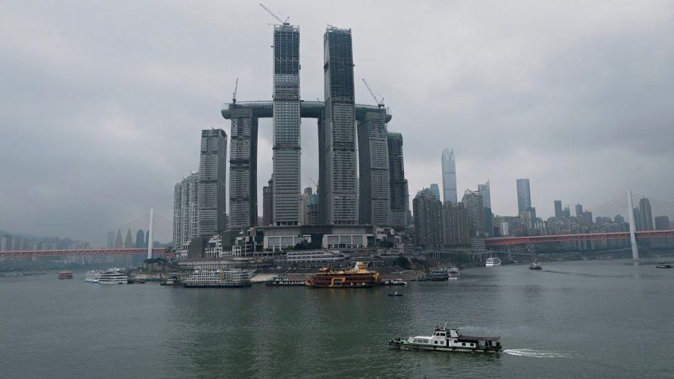 Raffles City, Chongqing, in 2019 - mimicking the Marina Bay Sands hotel in Singapore