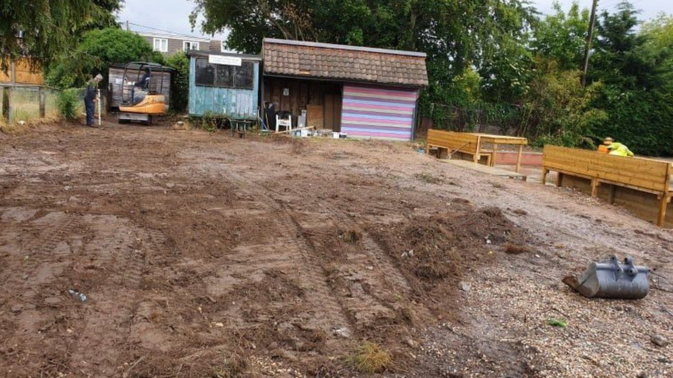 The Crown pub's former car park at the start of garden work