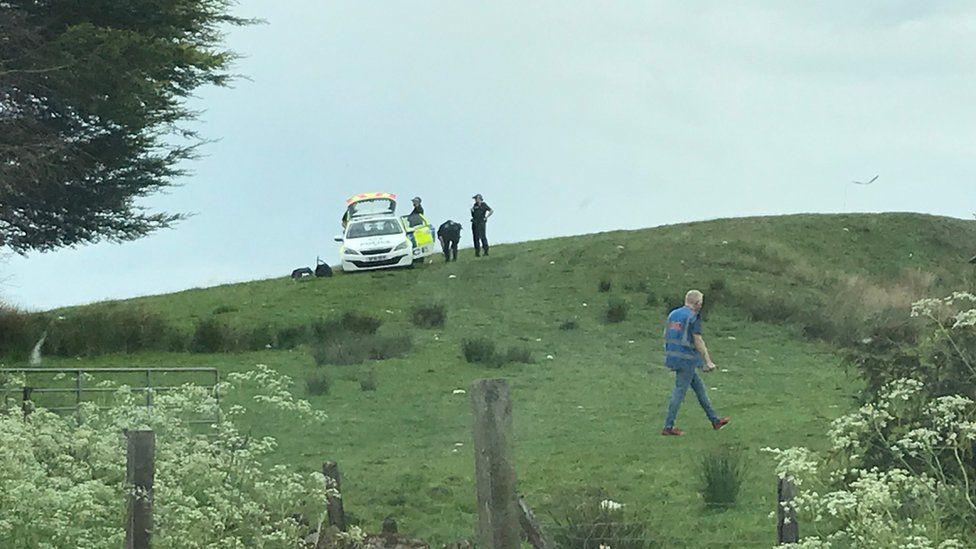 Police near scene of microlight crash