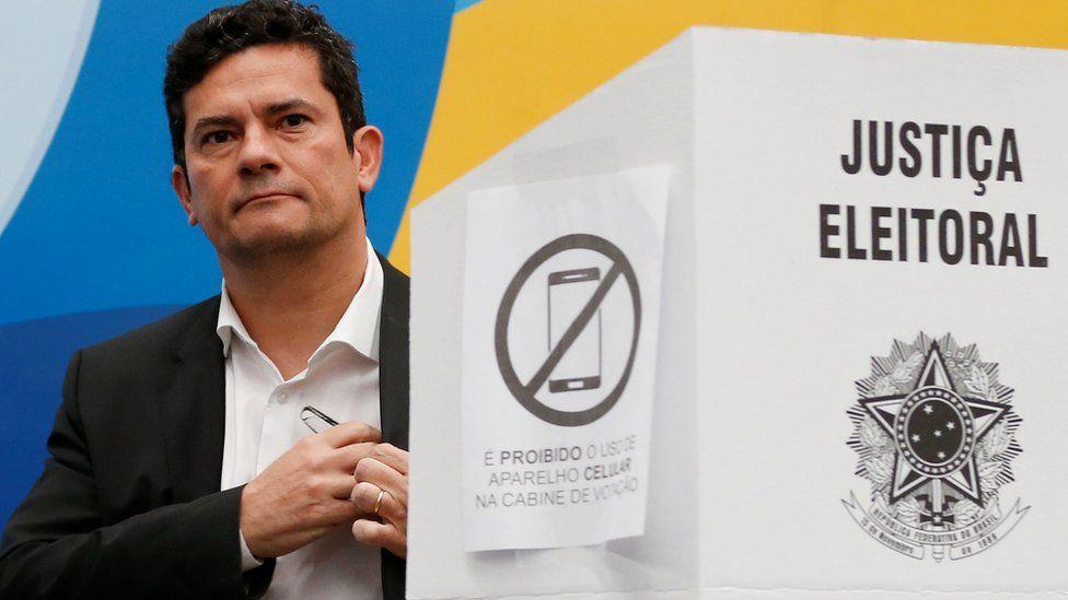 Brazilian federal Judge Sergio Moro, casts his vote in Curitiba, Brazil October 7, 2018