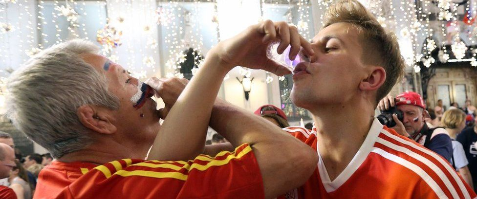 Russian fans toast victory over Spain