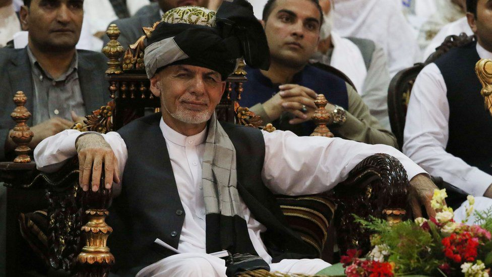 President Ashraf Ghani attends a meeting during his visit to Jalalabad, Afghanistan, 1 July 2018