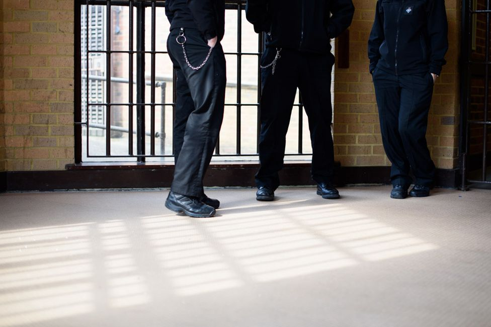 Prison officers' legs