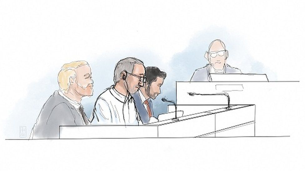 A courtroom sketch shows Iranian defendant Hamid Nouri sitting in the District Court of Stockholm