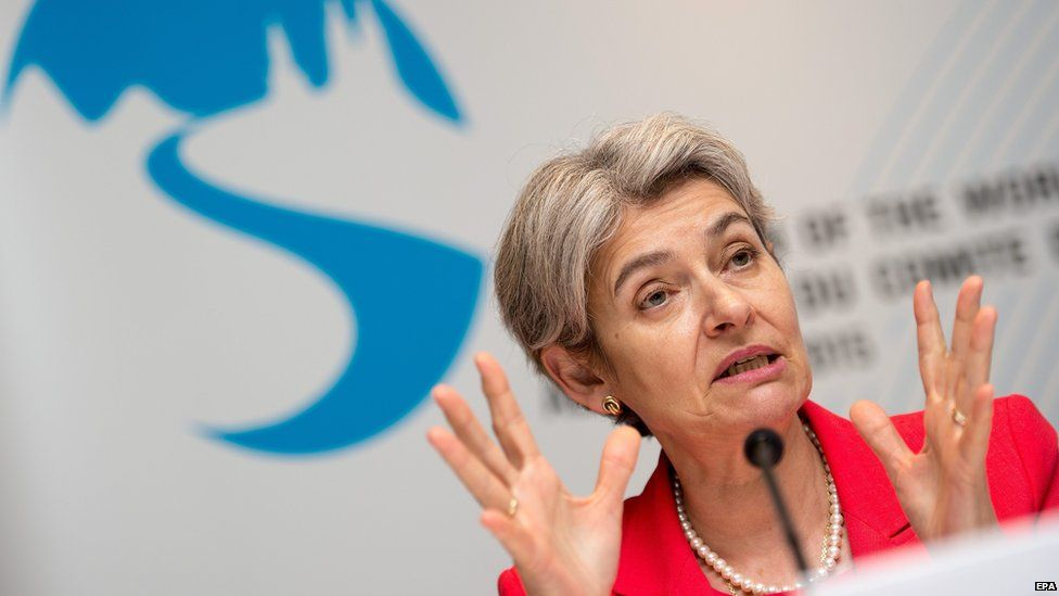 Irena Bokova at a meeting of the Unesco World Heritage Committee in Bonn, Germany (29 June 2015)