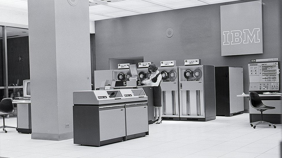 IBM computers lab in the 1960s