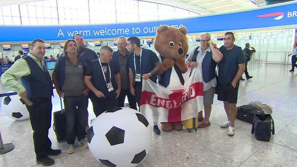 England fans at Heathrow
