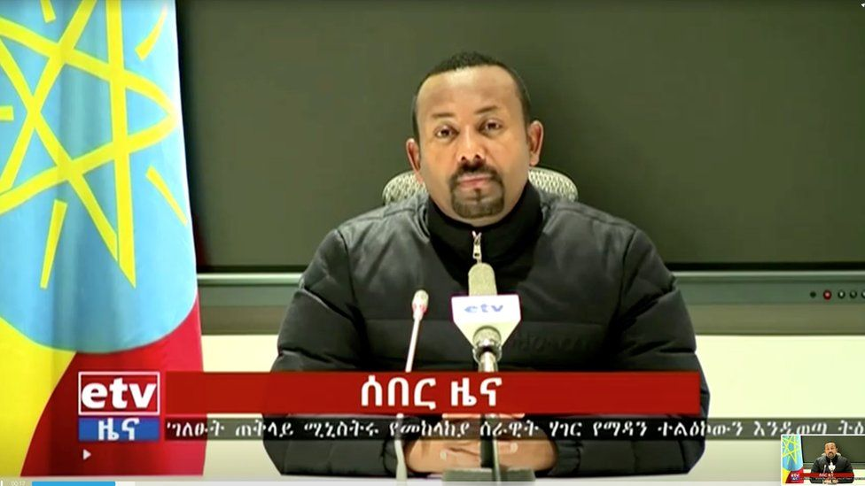 A still image taken from a video shows Ethiopian Prime Minister Abiy Ahmed addressing the nation in Addis Ababa, Ethiopia November 4, 2020. Ethiopia Broadcasting Coporation