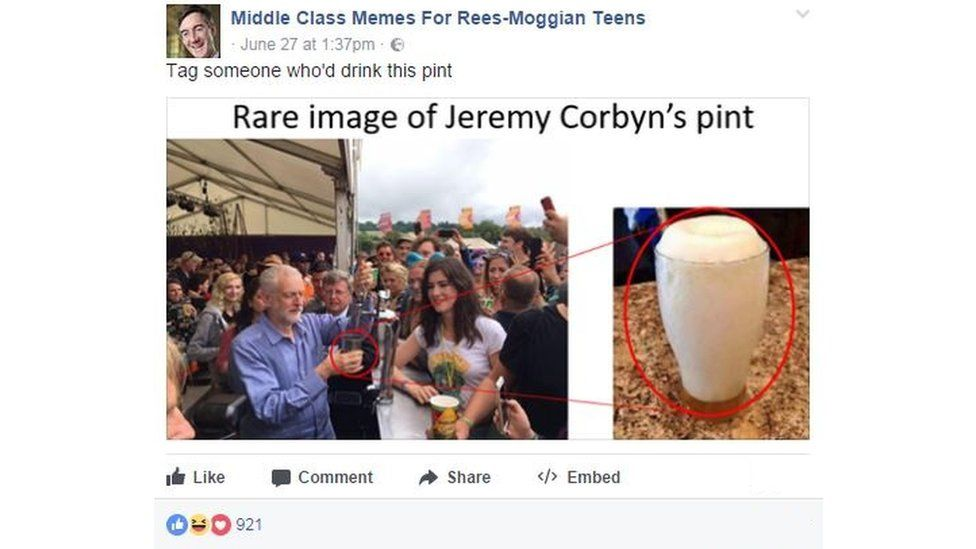 "Meme from the Facebook page: ""rare image of jeremy corbyn's pint"" - it's mostly foam."