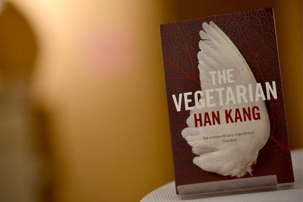 A copy of the The Vegetarian, on display at an event at the Victoria & Albert Museum in London, on 16 May 2016