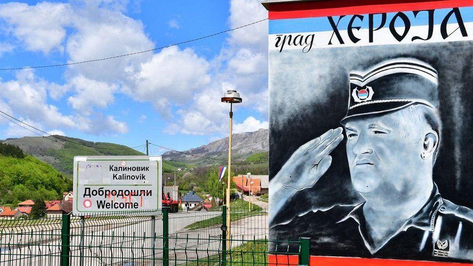 Mladic poster in Kalinovik, Republika Srpska, 22 May 21