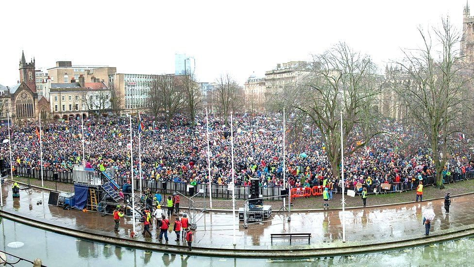A view of the crowds on Bristol's College Green from the council house