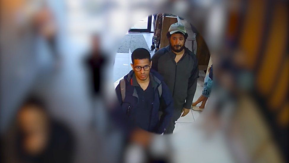 CCTV image - Sahayb Abu in hat and Muhamed Abu