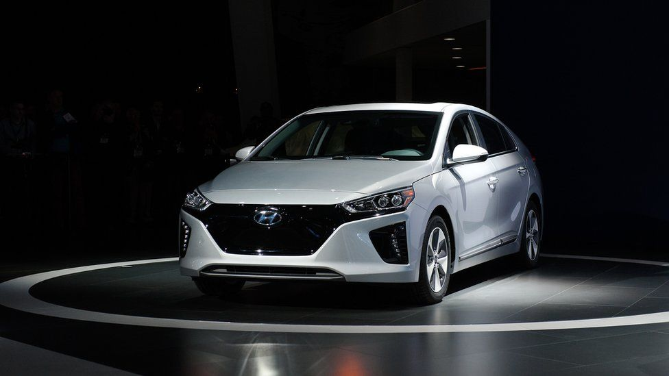 Hyundai electric car at motor show