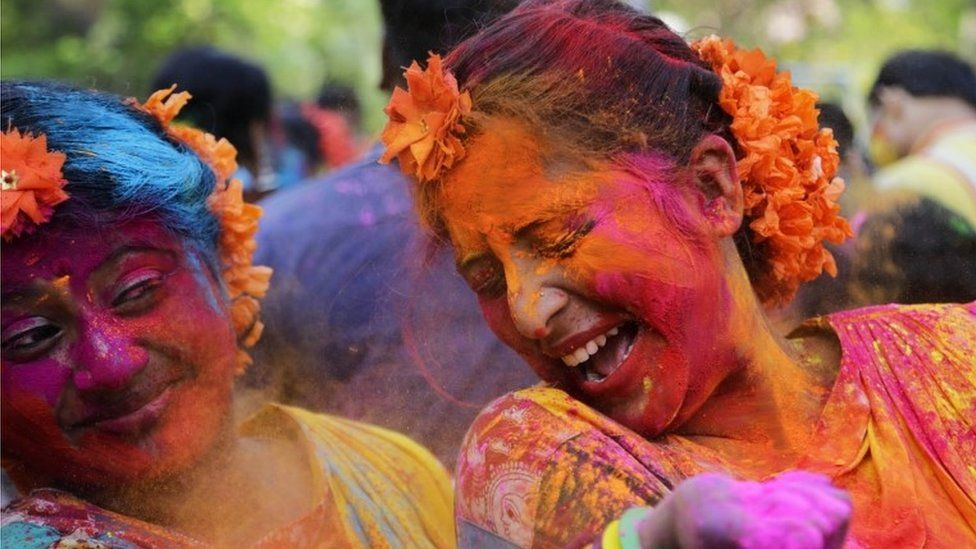Indian Hindus celebrate the festival of colors or Holi in Kolkata, India