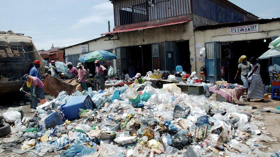 Rubbish pile on a street in Luanda