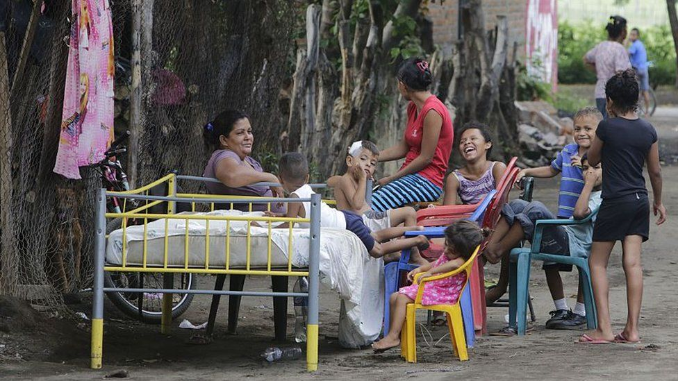 Nicaraguan family evacuated from their home during an earthquake in Spetember 2016