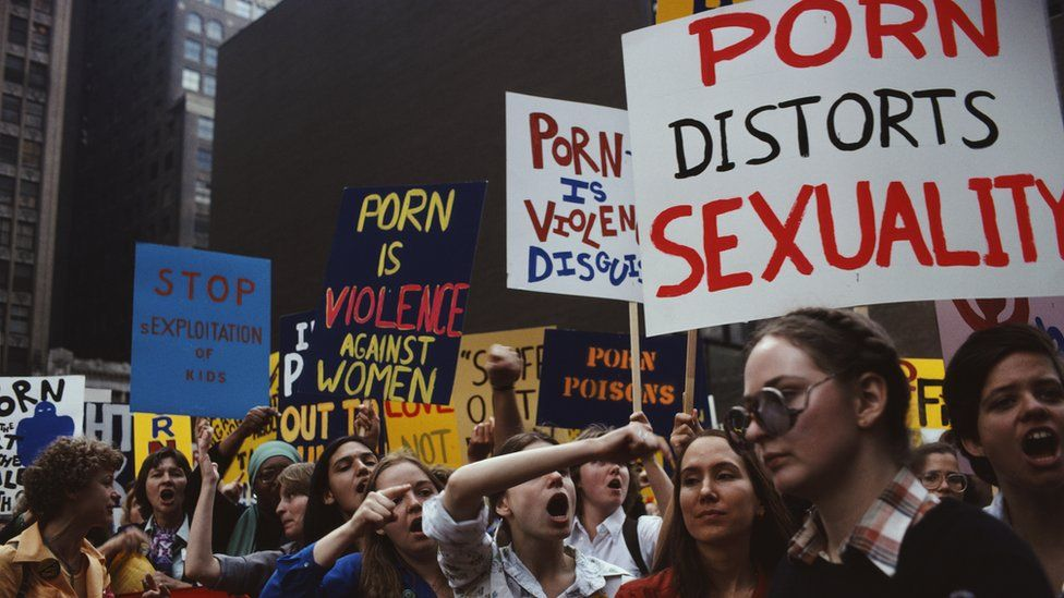 Feminist activists of the Women Against Pornography (WAP) group in a protest 'March On Times Square', in New York City, 20th October 1979