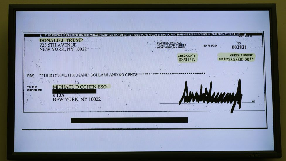 A copy of a cheque paid to Cohen