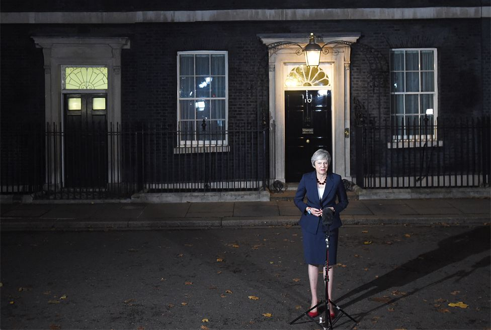 Theresa May speaking to the press in Downing Street after Wednesday's cabinet meeting