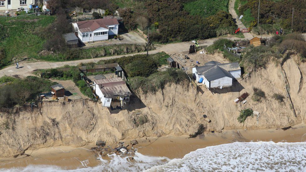 Homes in Hemsby falling into the sea