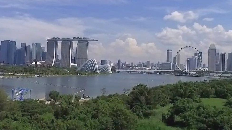 View of Singapore across the bay