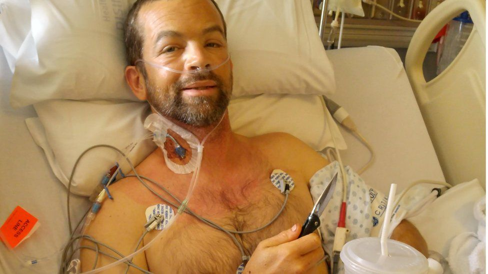 Colin Dowler seen in his hospital bed.