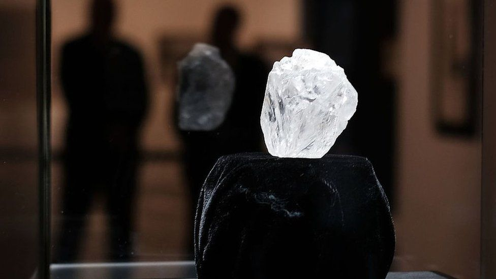 The largest rough diamond discovered in a 100 years on display in a cabinet