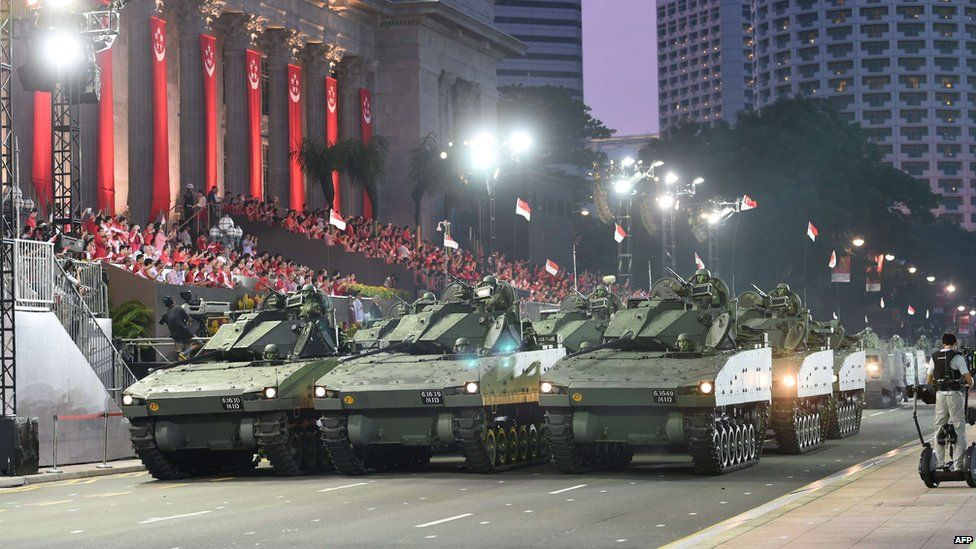 The mobile column from the Singapore Armed Forces features in independence day celebrations