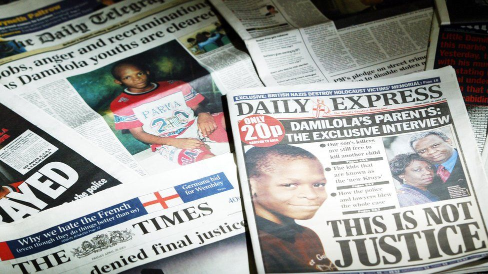 Britain's newspapers on 26 April 2002 after two brothers were cleared of Damilola's murder on 25 April