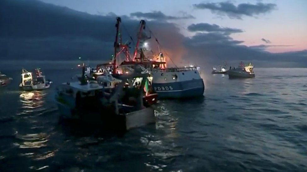 French and British fishing boats collide during scrap in English Channel over scallop fishing rights