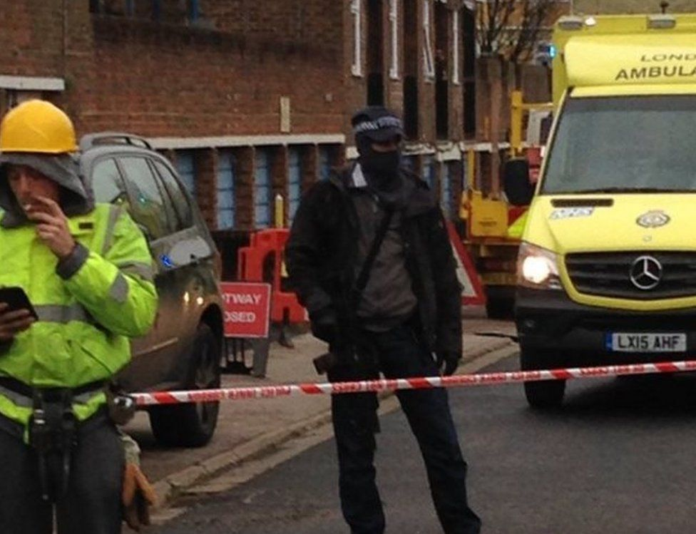 Armed police at the scene in Wood Green