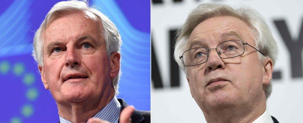 EU's Michel Barnier (L) and UK's David Davis
