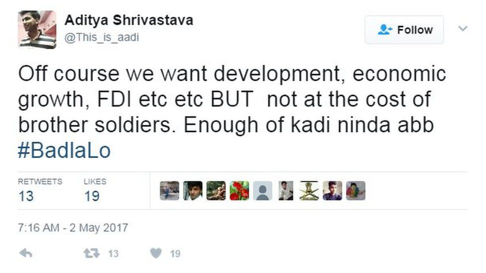 Off course we want development, economic growth, FDI etc etc BUT not at the cost of brother soldiers. Enough of kadi ninda abb #BadlaLo