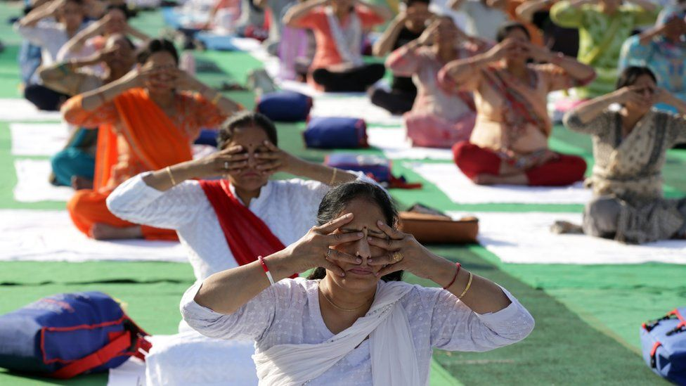 "Yoga practitioners perform yoga during the International Day of Yoga, in Jammu, the winter capital of Kashmir, India, 21 June 2019. The United Nations (UN) has declared 21 June as the International Yoga Day after adopting a resolution proposed by Indian Prime Minister Narendra Modi""s government."