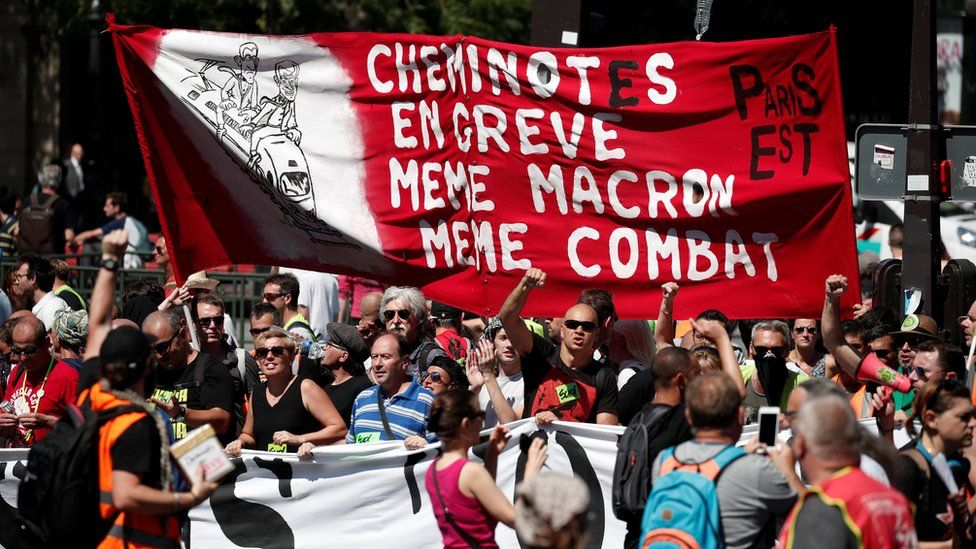 French state-owned railway company SNCF workers and labour union members attend a protest against the French government's reforms in Paris, France, June 28, 2018