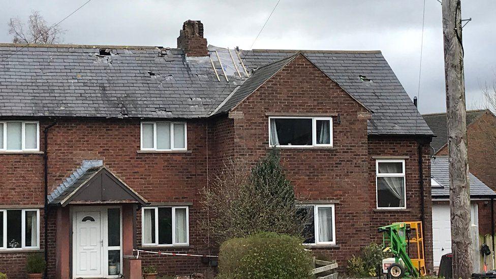 Lightning damaged house in Cotehill