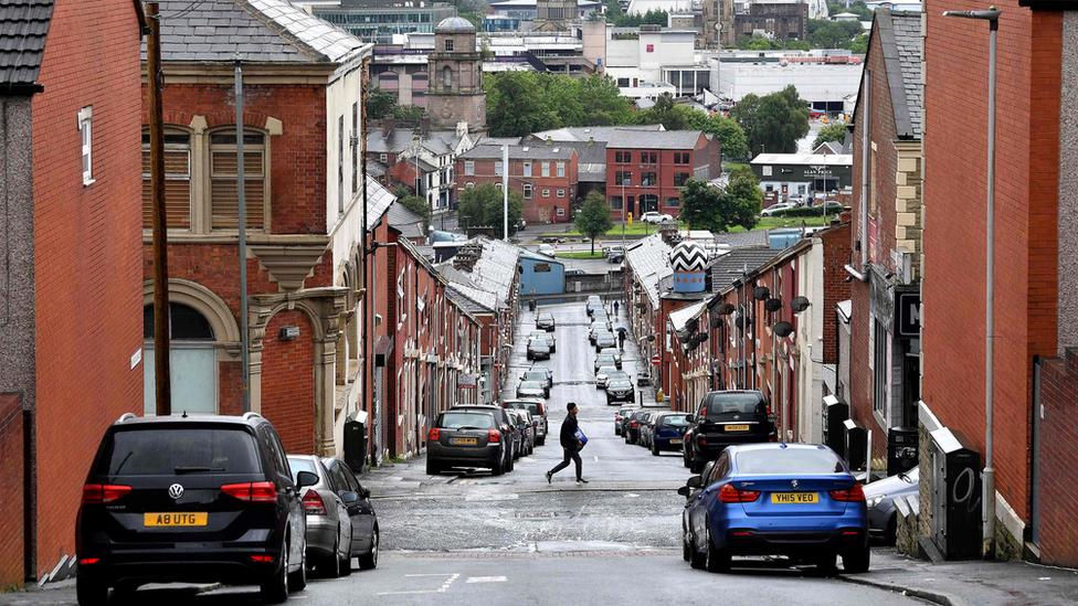 view down a Blackburn street