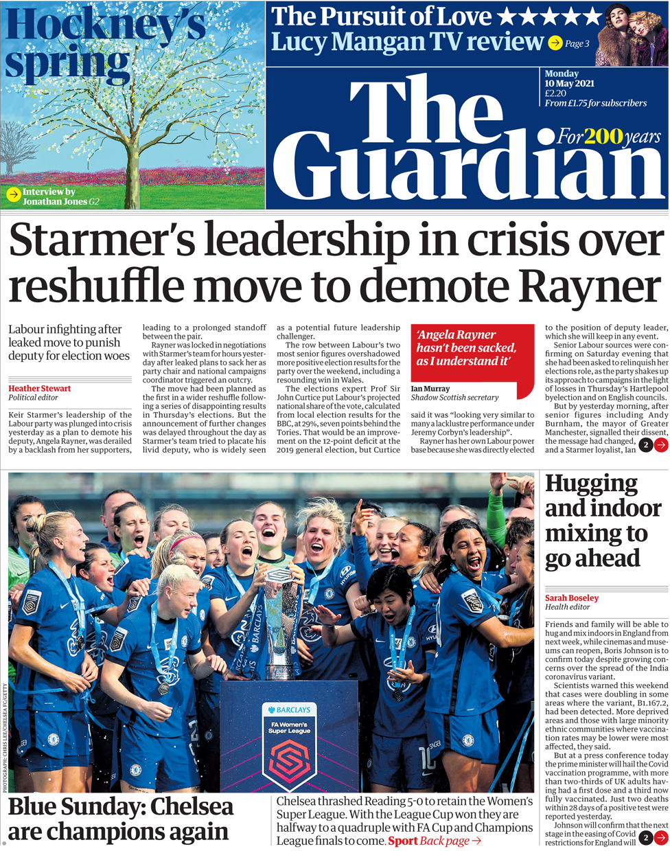 The guardian front page 10 May 2021