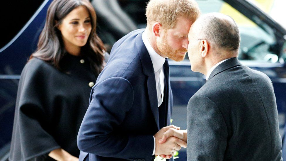 The Duke and the Duchess of Sussex arrive at the New Zealand High Commission in London
