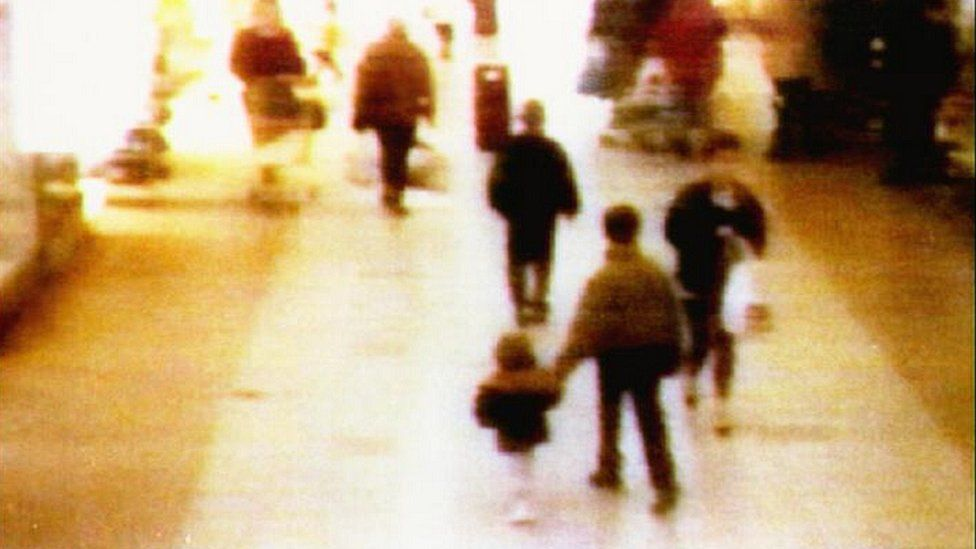 CCTV images of James Bulger being led away